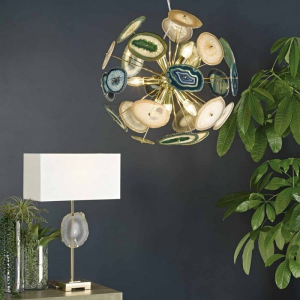 achates eye catching 9 light gold agate ceiling pendant from Aspire Design €811